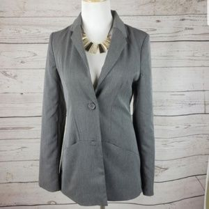 Gray Button Down Lined Blazer Jacket size small